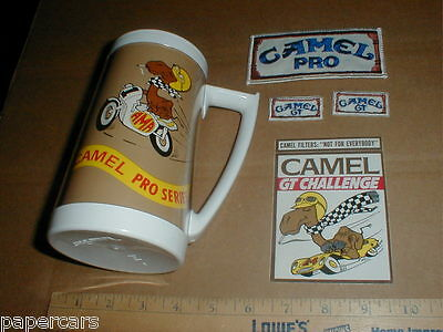 Vintage Camel Pro series AMA Motorcycle cup mug hat PATCH decal Rare lot 1970s