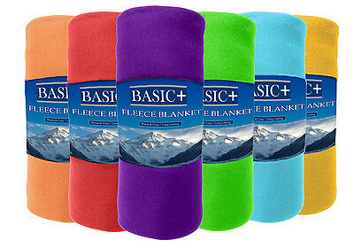 Wholesale  Fleece Throw Blankets 50 x 60  Lot of 12, Assorted Solid Colors