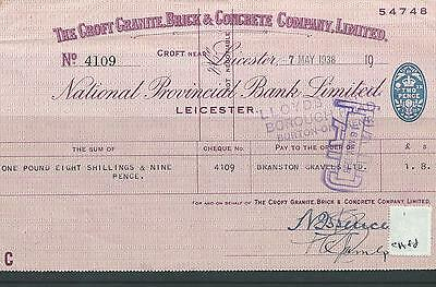 wbc. - CHEQUE - USED -1930's -CH88- NATIONAL PROVINCIAL BANK, LEICESTER  company