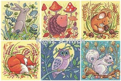 HERITAGE CRAFTS - WOODLAND CREATURES CROSS STITCH KIT Choose From Four