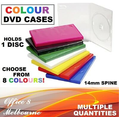 BRAND NEW 14mm Single DVD Case Black Clear Green Blue Red Yellow for Movie Game
