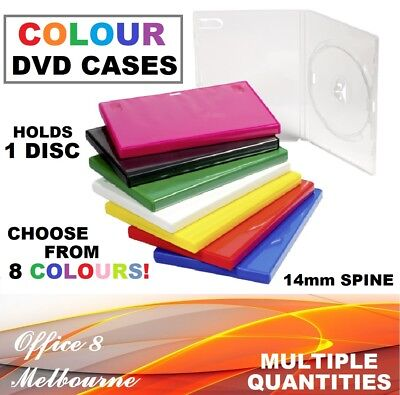 COLOUR DVD CASES 14mm Single DVD Covers Black Clear Green Blue + Kids DVD Cases