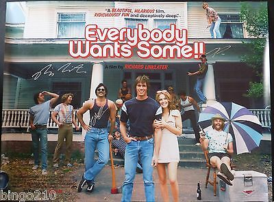 Everybody Wants Some!! Original 2016 Quad Poster  Signed By 3 Richard Linklater