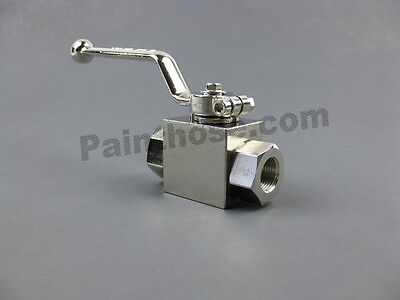 "MTM Hydro 20.0036 Plated Steel Ball Valve 3/8"" NPT F x F 7250 PSI"