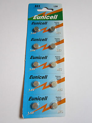 10x Eunicell AG3 LR41 G3 SR41W 392 - 1.5v Alkaline Button Cell Battery Batteries