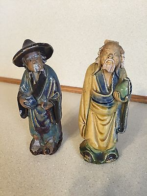 "Pair Antique Chinese Pottery Figurines - ""MUDMEN"" ~5"" Tall - Marked CHINA"