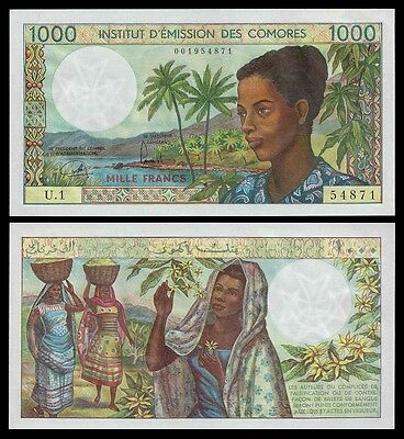 Comoros 1000 FRANCS ND 1976 P 8 UNC  Serie U.1