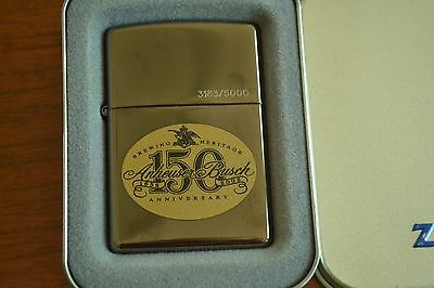 ZIPPO Lighter, Anheuser Busch 150th Anniv Ltd Edit, Black Ice 2002, Unfired M259