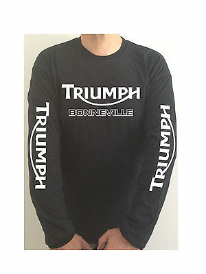 TRIUMPH BONNEVILLE SLEEVE PRINT motorcycle t-shirt SEE BOTH PHOTOS