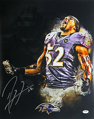 Ravens Ray Lewis Authentic Signed 16X20 Blackout Dance Photo PSA/DNA ITP