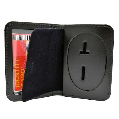 Oval Police Badge Holder Leather ID Case Perfect Fit Wallet Recessed Cutout