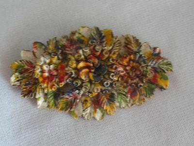 "Vintage Retro 1930S Carved Multi Color Celluloid Floral 2 3/4"" Pin"