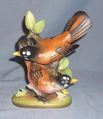 Vintage Norcrest Porcelain Double Robin Bird on Stump Figurine A-428