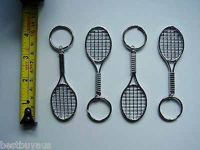 Single Tennis Racquet Key Ring Keyring Metal Available In Various Quantities