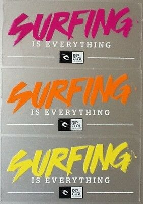 "RipCurl ""Surfing is Everything"" Surf Skate Snowboard Stickers Pink Orange Yellow"