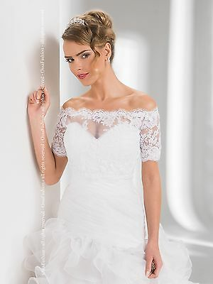 Bridal Ivory / White Lace Over-top Bolero Shrug Wedding Jacket 8/10/12/14