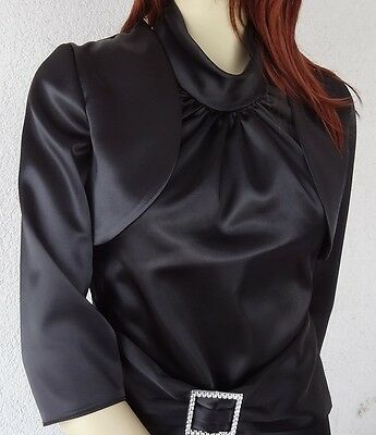 NEW Women's Satin Top Wedding Prom Bolero Bridal 3/4 Sleeve Jacket Plus SIZES
