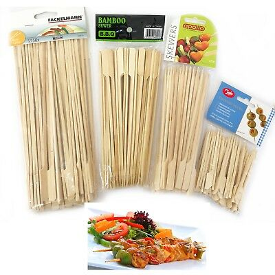 Reusable Bamboo Skewers Finger Sticks BBQ Grill Barbecue Wooden Stick 15,25CM