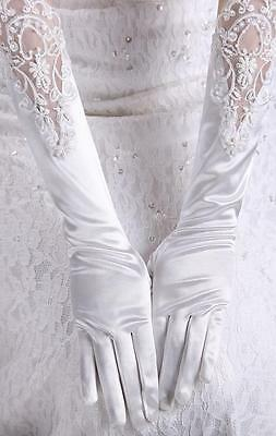 Long design white satin lace wedding gloves full wedding dress accessories