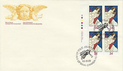 Canada #1113 34¢ Christmas Angels Ul Plate Block First Day Cover