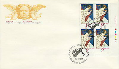 Canada #1113 34¢ Christmas Angels Lr Plate Block First Day Cover