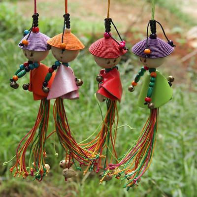 Ethnic Wind Chime Little Human Shaped Car Garden Décor Hang Pendant