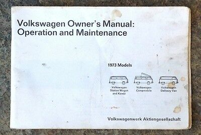 Original 1973 Volkswagen Type 2 Station Wagon Kombi Camper Bus Owner's Manual