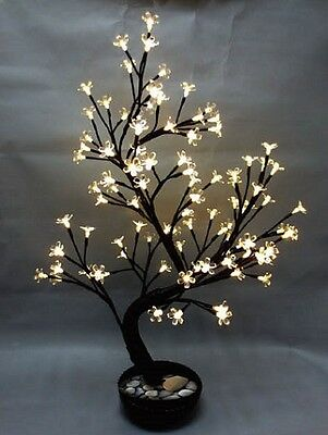 """White Cherry Blossom LED Tree in Pot - Home Decoration 27"""""""