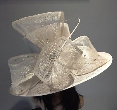 Oatmeal Wedding Hat Formal Occasion Mother Of The Bride Races Diamonte