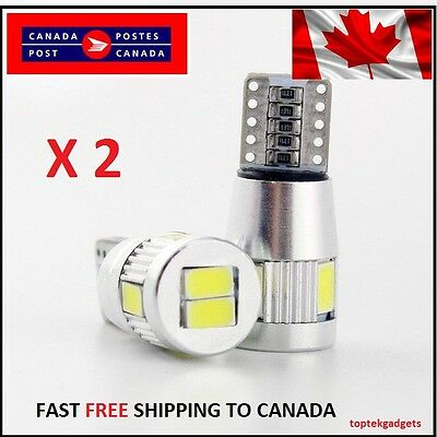 2X T10 Cool White 501/194 W5W  LED 6 SMD  CANBUS ERROR FREE License Plate Signal