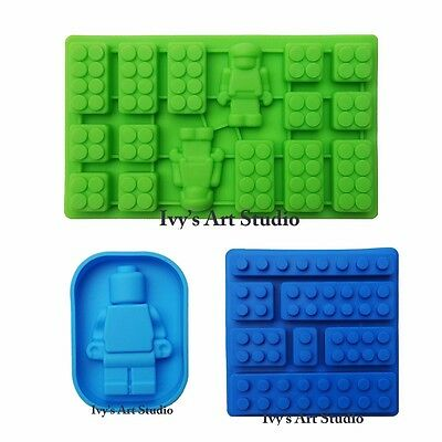 Set of 3 Multi Lego-like Brick Ice Cube Tray & Minifigure Man Silicone Molds
