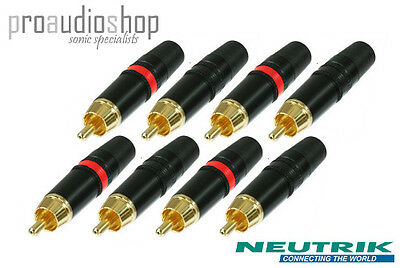 4 Pairs Rean (Neutrik) RCA Phono Plugs Red & Black (4x NYS373-0 and 4x NYS373-2)