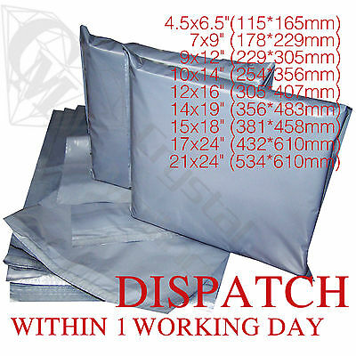 Strong Grey Plastic Mailing Post Poly Postage Bags with Self Seal ALL SIZES CS