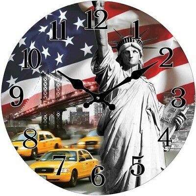 Glas Uhr Statue of Liberty USA Flagge 28cm Wanduhr Motivuhr Vintage New York