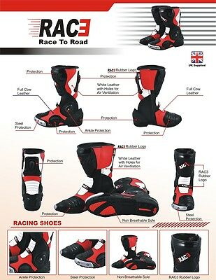 Original Rac3 Motorcycle Motorbike Real Leather Sports Race Armour Boots New