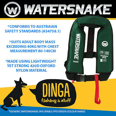 Watersnake Inflatable PFD Life Jacket Adult Level 150 Manual Green