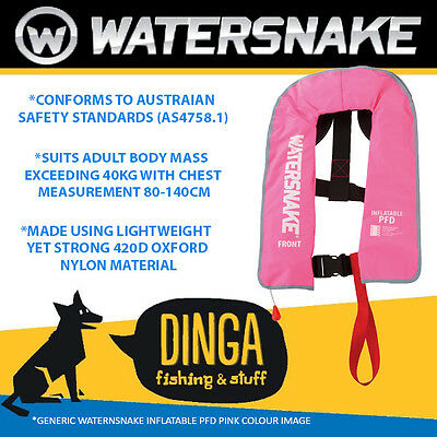 Watersnake Inflatable PFD Life Jacket Adult Level 150 Manual Pink