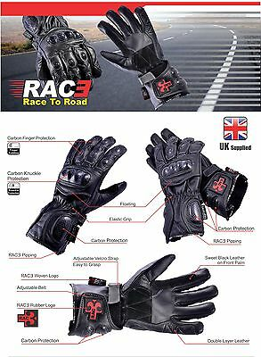 Original RAC3 Motorbike Motorcycle Carbon Molded Knuckle Cowhide Leather Gloves