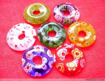 12pcsMulticolor Beautiful Bead Round Millefiori Flower Lampwork Glass Beads 18mm
