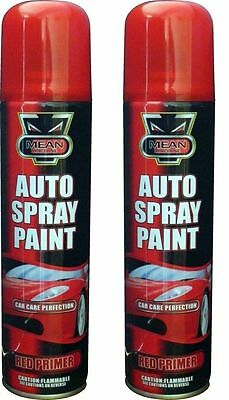 2X Large Auto Spray Tins Paint Red Primer Aerosol Handy Cans Car Van Truck 250Ml