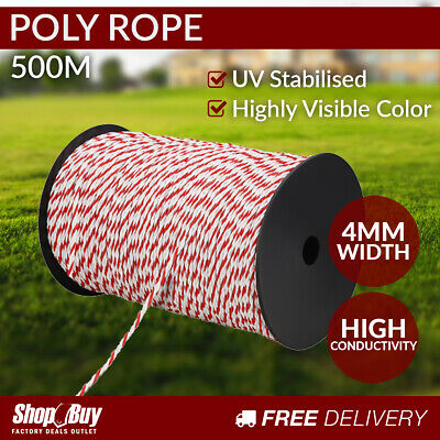 500m Poly Rope Roll Electric Fence Energiser Stainless Steel polyrope Insulat...