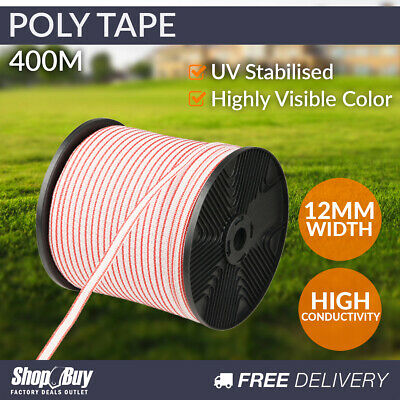 400m Poly Tape Electric Farm Fence Energiser Stainless Steel Polytape Insulat...