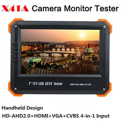 "X41A 7"" TFT LCD Monitor HD-AHD+HDMI+VGA+CVBS Camera Video Test Tester 12V-Out"