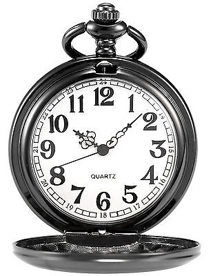 Retro Black Smooth Full-Hunter FOB Men's Quartz Pendant Pocket Watch Chain C