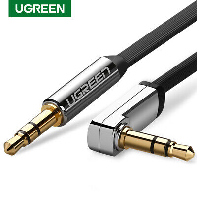 Ugreen 1M 3.5mm Jack Auxiliary Stereo Audio Cable Aux Lead Flat 90 Degree Angle