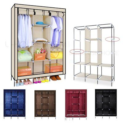 Triple Multiple Canvas Wardrobe With Hanging Rail Home Furniture Storage 5 Color