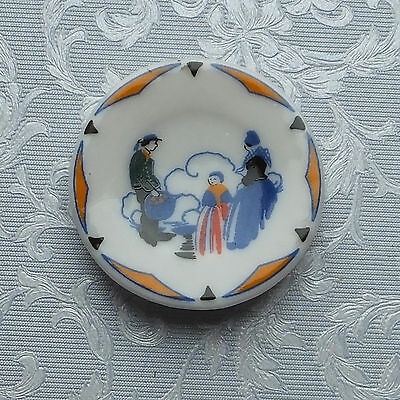 Dolls house miniatures: traditional painted porcelain plate from France