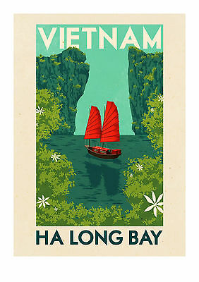 Home Wall Art Print - Vintage Travel Poster - VIETNAM - A4,A3,A2,A1