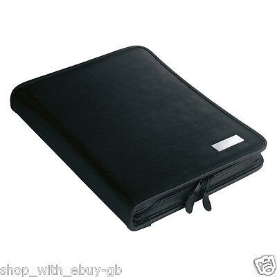 A4 Leather Look Conference Folder 2 Ring Binder Zipped Meeting Folio & Note Pad