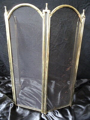 Vintage Brass Art Deco Style  Panel Folding Firescreen Stand